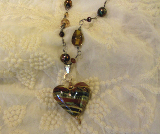 'Sandy Waves' Heart Pendant