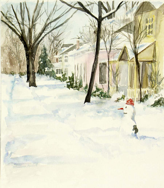 Snowman On 12th Street Giclee