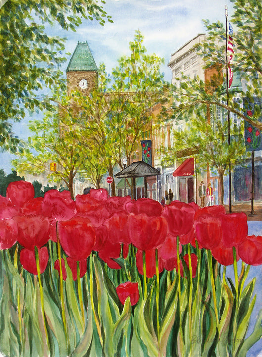 Tulips With Tower Clock Giclee