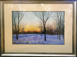Winter Sunset Watercolor Painting