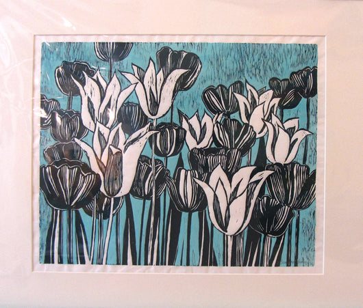 Black And White Blooms Blue Linocut