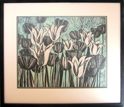 Black And White Blooms Green Framed Linocut