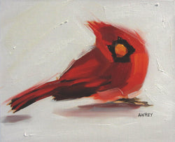 A Cardinal Snow Day Oil Painting