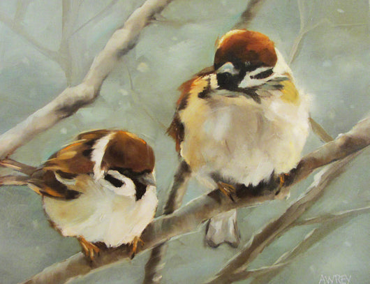 A Winter Perch Oil Painting