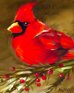 'Big Red' Cardinal Giclee Left Facing