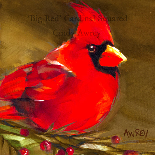 'Big Red' Cardinal Squared Giclee