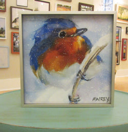 Blue Bird in Snow Framed Giclee
