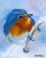 Blue Bird In Snow Oil Painting