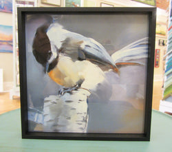 Chickadee on Birch Post Framed Giclee