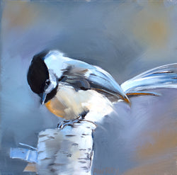 Chickadee on Birch Post Giclee