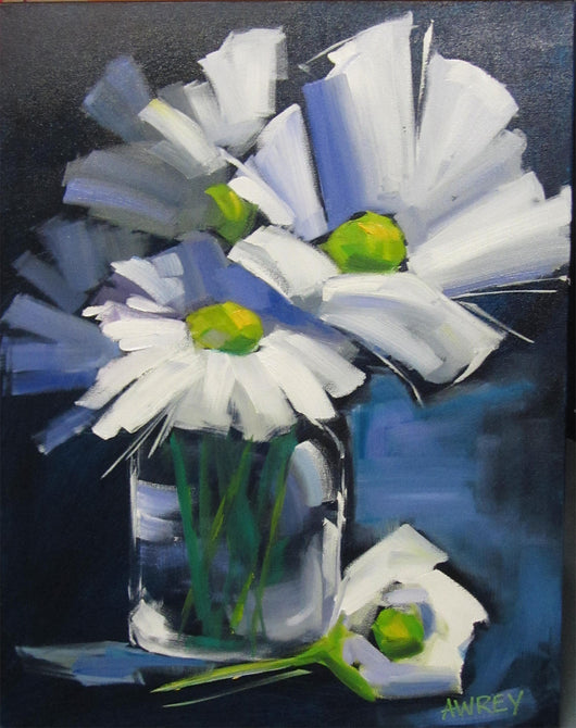 Daisies On Navy Oil Painting