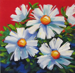 Daisies On Red Oil Painting