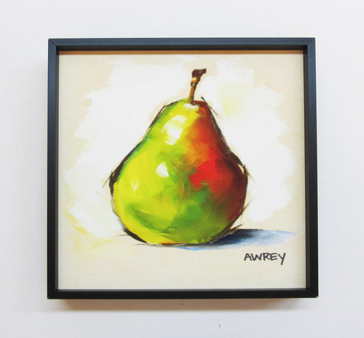 Fruits On Wood Green Pear Framed Giclee