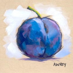 Fruits On Wood Purple Plum Oil Painting