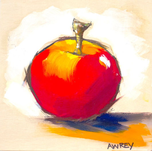 Fruits On Wood Red Apple Oil Painting