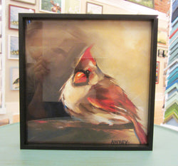 Glowing Female Cardinal Framed Giclee