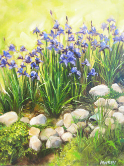 Iris on the Rocks Oil Painting