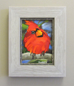 'Lil Funky' Red Cardinal Oil Painting Framed