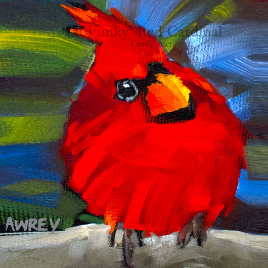'Lil Funky' Red Cardinal Squared Giclee