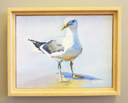 Lone Seagull Framed Oil Painting