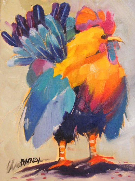 Rooster of Many Colors Oil Painting
