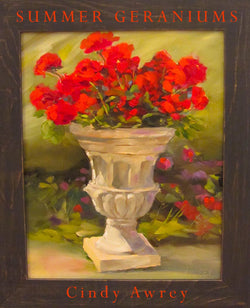 Summer Geraniums Oil Painting Framed
