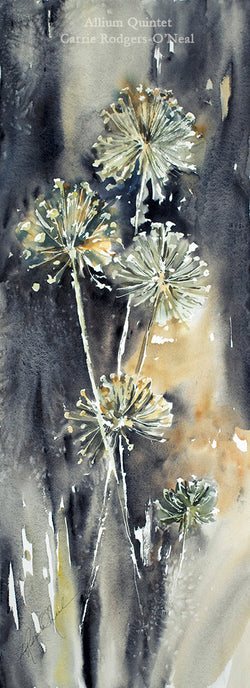 Allium Quintet Watercolor Painting