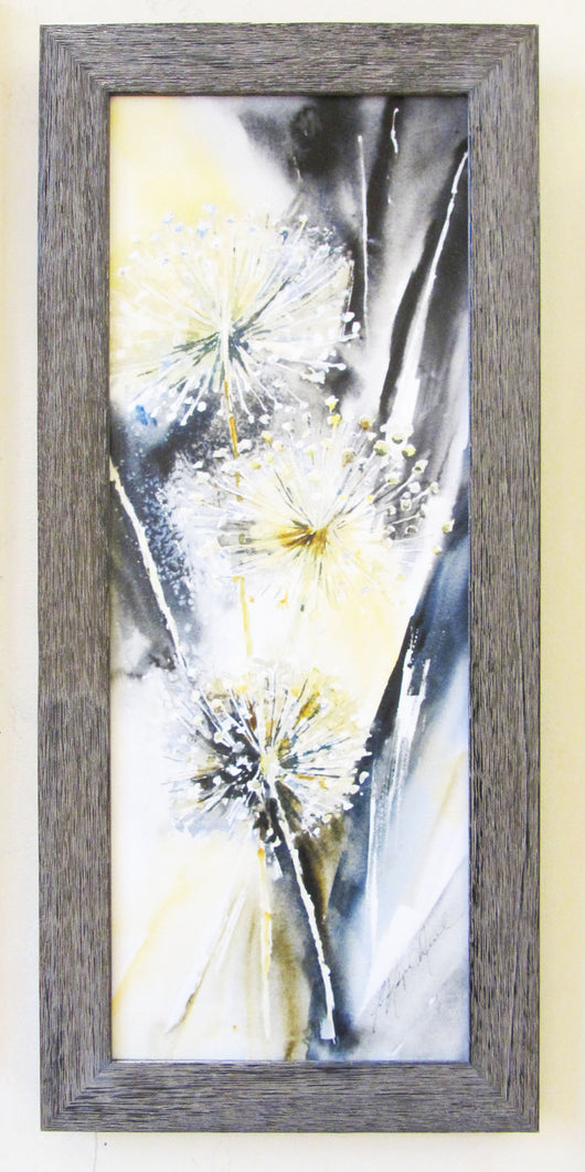 Allium Trio Framed Giclee on Canvas