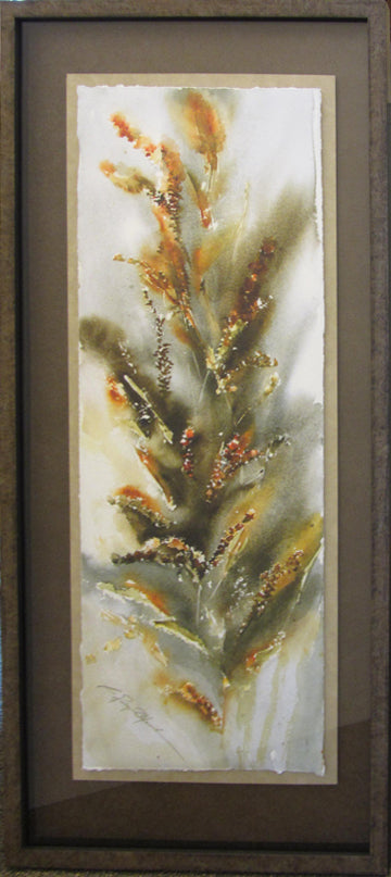 Berries and Cat Tails giclee Framed 'Classic Float II'