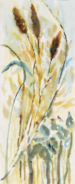 Cat Tails And Grasses Mini Canvas Giclee Framed