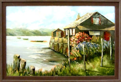 Conwy River Boat House Oil Painting Framed