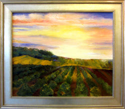 Day Break Over The Harvest Oil Painting Framed