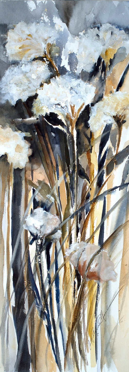 Dried Goldenrod Stems Watercolor Painting
