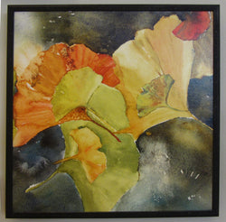 Evening Ginkgo Leaves Squared Three Framed Giclee 'Anvil'