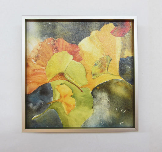 Evening Ginkgo Leaves Squared Three Framed Giclee