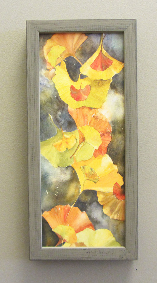 Evening Ginkgo Leaves Mini Canvas Giclee Framed