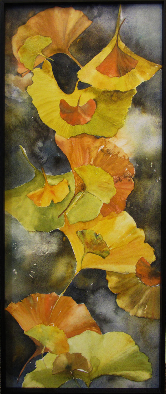 Evening Ginkgo Leaves Framed Giclee  'Canvas With Contemporary Black'
