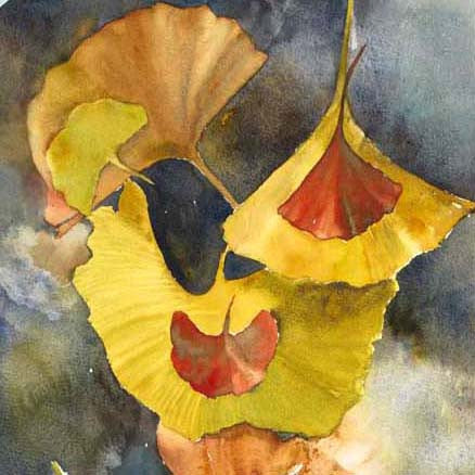 Evening Ginkgo Leaves Squared Two Giclee