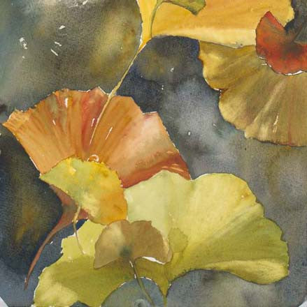 Evening Ginkgo Leaves Squared Four Giclee