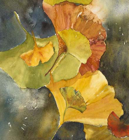 Evening Ginkgo Leaves Squared Three Giclee