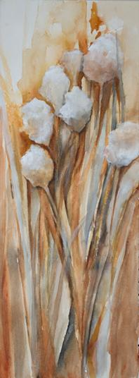 Fall Cotton Balls Watercolor Painting