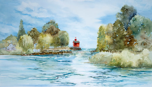 Holland Channel Light Watercolor Painting