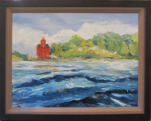 Holland Harbor View Oil Painting Framed