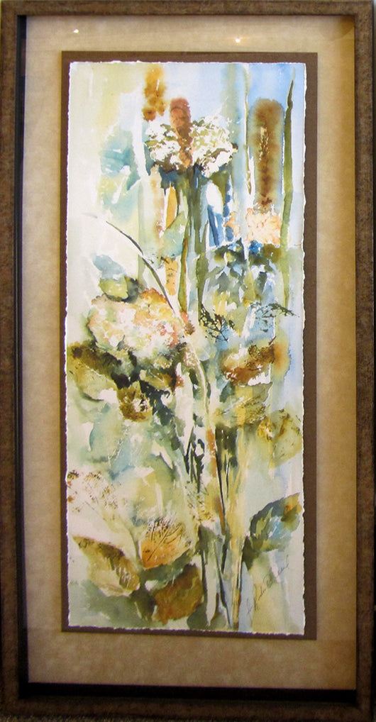 Hydrangeas And Leaves I Giclee Framed 'Classic Float'