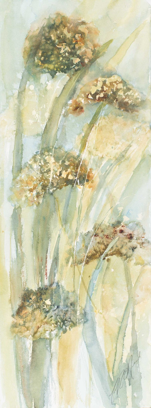 Hydrangeas And Tall Grass Mini Canvas Giclee Framed