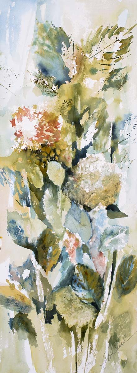 Hydrangeas And Leaves III Mini Canvas Giclee Framed