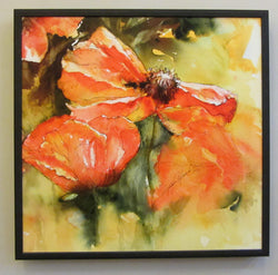 Poppy Duet on Canvas Framed