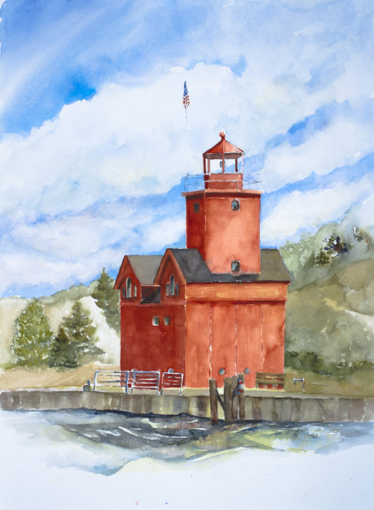 Pure Michigan Big Red Watercolor Painting