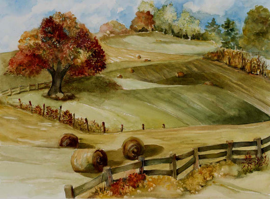 Rolling Patchwork Pastures Watercolor Painting