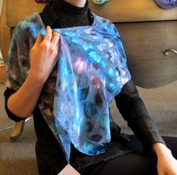 Scarf, Large Ice Dyed Silk Devore'  13